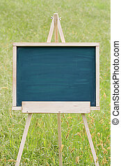 blank chalkboard with easel