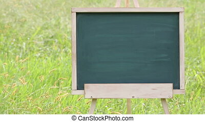 blank chalkboard with easel - blank chalkboard with wooden...