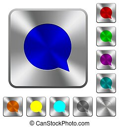 Blank chat bubble rounded square steel buttons