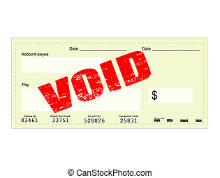 Blank Check and Void grunge stamp, vector illustration