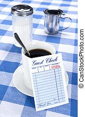 Blank check in diner