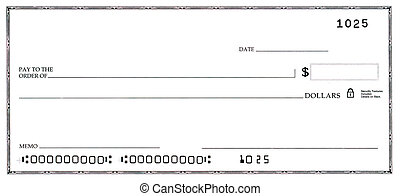 Blank Check with False Numbers - Blank white check with fake...