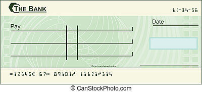 Blank cheque illustration - An illustration of a green blank...