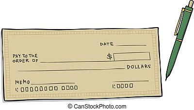 Blank cheque - Check on a white background vector...