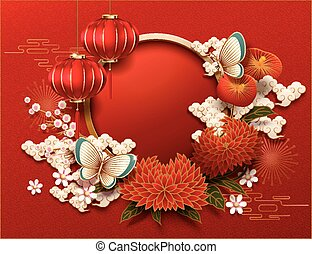 Blank Chinese new year background, peony and red lanterns decorations