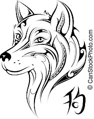 blank - Chinese zodiac Dog as symbol for 2018 New Year (...