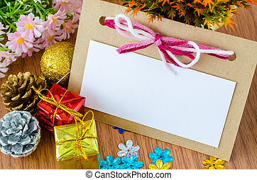 Blank Christmas Greeting card with Christmas decorations.