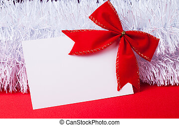 Blank Christmas Greeting Card With Red Bow