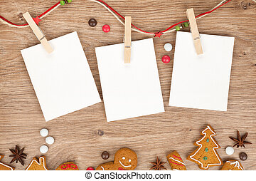 Blank christmas photo frames with homemade gingerbread...