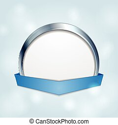 Blank circle frame with blue ribbon