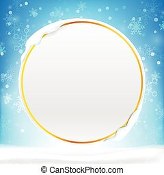 Blank circle frame with copy space and winter snow flake falling into snow floor  and lighting over blue abstract background for winter celebration and christmas promotion template vector illustration