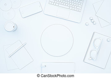 Blank circle on white table