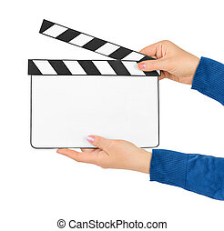Blank clapboard in hands