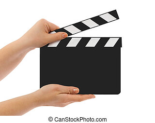 Blank clapboard in hands isolated on white background