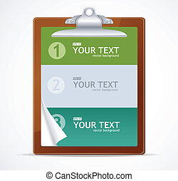 Blank clipboard 1,2,3 concept