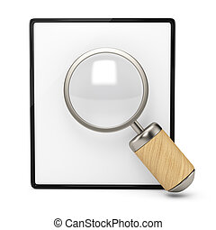 Blank clipboard and magnifier