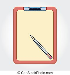 Blank clipboard and pencil isolated