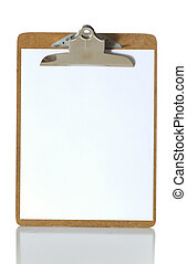 Blank Clipboard - Blank clipboard on white background with...