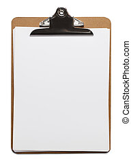 Blank Clipboard - Classic brown clipboard with blank white...