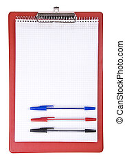 Blank clipboard with a pen