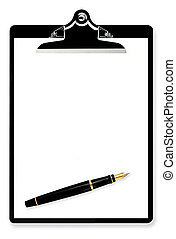Blank Clipboard with Fountain Pen - Blank paper on...