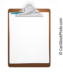 Blank Clipboard with Pen - Clipboard holding papers with a...