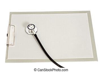 Blank clipboard with stethoscope isolated on white background