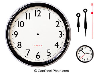 Blank clock face and hands - Photo of a blank electric clock...