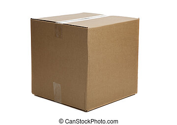 Blank Closed Cardboard Box - A blank, brown, corrugated...