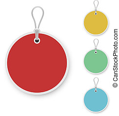 Blank color round price tag isolated on white background.