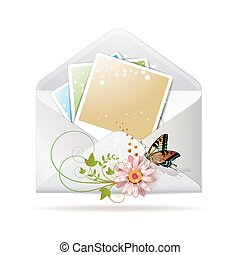 Blank colored photos in envelope decorated with flower and...