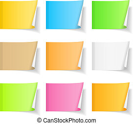 Set of blank colored sticky notes with curl on white background, vector eps10 illustration