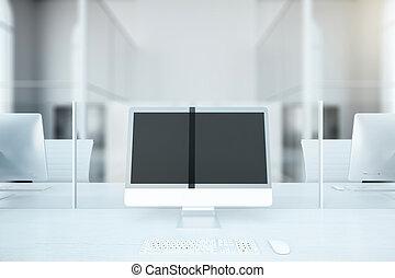 Blank computer monitor closeup
