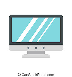 Blank computer monitor icon, flat style