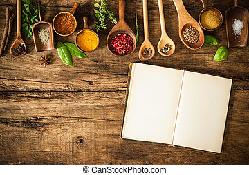 Blank cookbook and spices