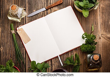 Blank cookbook for recipes with herbs