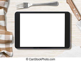 blank cooking recipe notes on black tablet pc - cooking ...