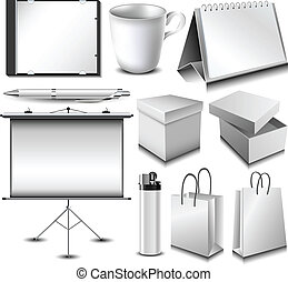 Blank corporate identity object set with boxes, bags, CD case, pen, cup, calendar, etc.