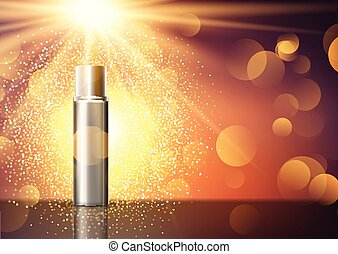 blank cosmetic bottle on display background 0807