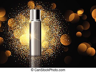 blank cosmetic bottle on gold glitter display background