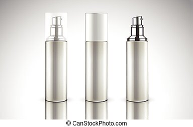 blank cosmetic bottles for design use, isolated white ...