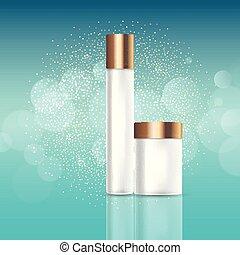 Blank cosmetic bottles on glittery background