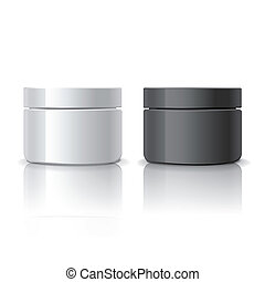 blank cosmetic containers isolated on white background