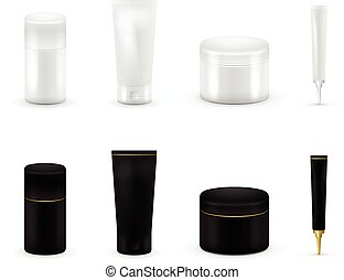 Blank cosmetic package collection set isolated on white background. Realistic cosmetic bottle mock up set. Shampoo and cream pack. Black and white color.