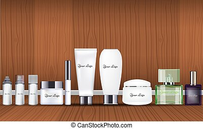 Blank cosmetic package collection set isolated on wood background