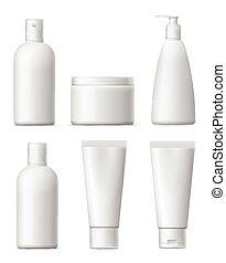 Blank cosmetic package set.