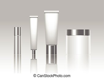Blank cosmetic tubes isolated on background