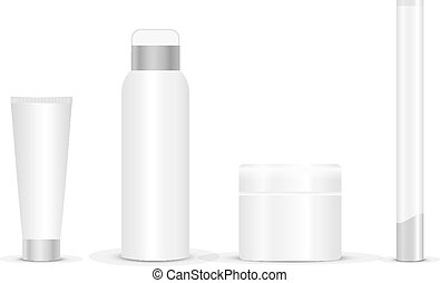 Blank cosmetic tubes on white backg