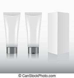 Blank cosmetics package with box. Vector illustration.