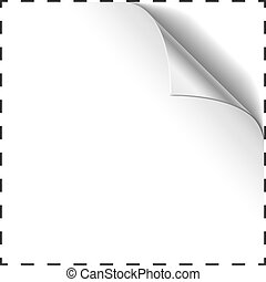 Blank coupon vector template with curled corner.